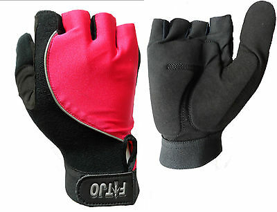 Pink  New Full Thumb Half Finger Gel Padded Wheelchair Specific Sport Gloves