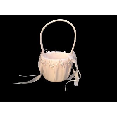 Flower Girl Basket Ivory Wedding Ceremony Supplies