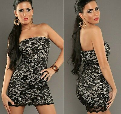 Sz 8 10 Black White Strapless Lace Party Club Sexy Dance Cocktail Fit Gown Dress