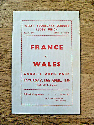 Wales Schools v France Schools 1950 Rugby Programme