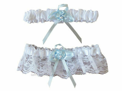 Wedding Bridal Garter Set 2 piece Blue White Bride Throwaway Lace Accessory