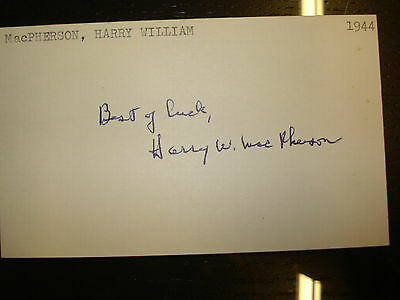 1944 Harry MacPherson Autograph Index card 3X5 Signed Debut Boston Braves