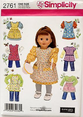 """Simplicity Sewing Pattern 2761 18""""  GIRL Doll Clothes Outfits Clothing"""