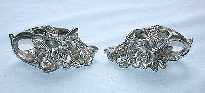 Beautiful Antique Ornate Silverplate Double Candle Holders Pair