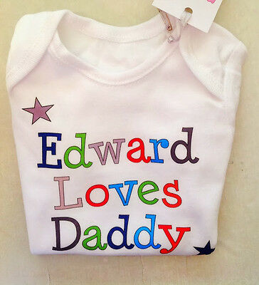 PERSONALISED baby girl, baby boy, unisex vest LOVES DADDY Fathers Day, Baby Gift