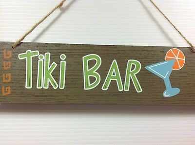 TIKI BAR Sign Faux Wood Hanging Tropical Hawaiian Hawaii Cocktails Luau Party