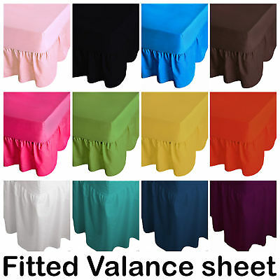 Plain PolyCotton Frilled Fitted Valance Sheets Bed Sheet Single Double King