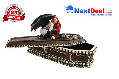 Gargoyle Lady Fantasy Coffin Jewellery box Statue/Figurine Poly Resin