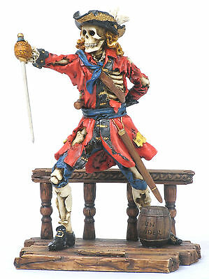 Calico Jack Pirate Statue/Figurine Poly Resin 7.5 inches Tall