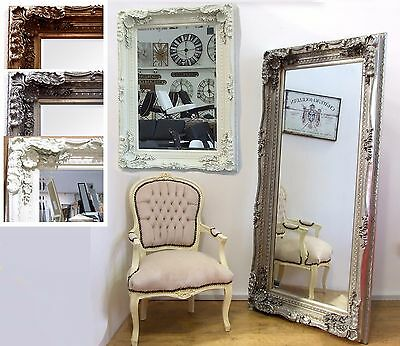 Large Vintage French Frame Carved Wall Leaner Mirror - 2 Sizes Cream Silver Gold
