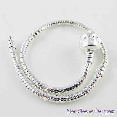 20cm Silver Plated Charm Bracelet, Love Clasp, fit European Beads