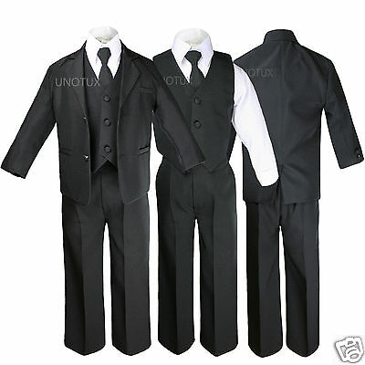 New Black Kid Teen Formal Wedding Party Prom Boy Suit Tuxedo Tie 5pc Set sz 5-20