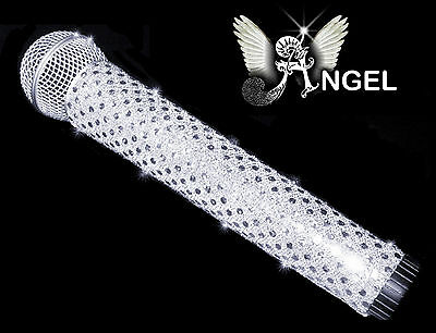 MICROPHONE COVER (ANGEL) SILVER WHITE SPARKLE MIC COVER FOR CORDLESS MICROPHONE