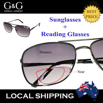 G&G Tinted Reading Glasses Magnifying Bifocal Sunglasses Men Women Outdoor Black