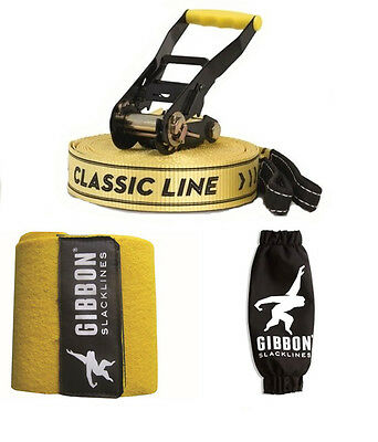 Gibbon Slackline 15M Classic X13 Tree Pro Set 50MM Slack Line Tight Rope 13842