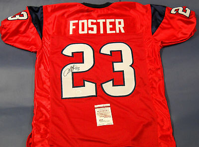 ARIAN FOSTER AUTOGRAPHED HOUSTON TEXANS RED JERSEY JSA LAST ONE