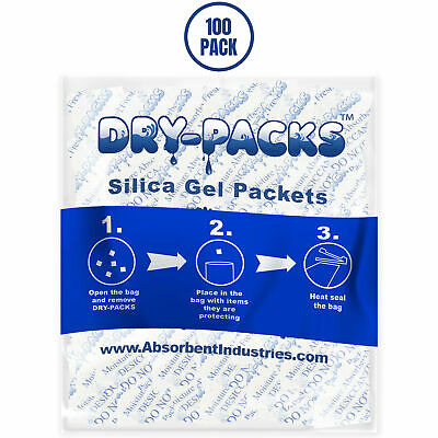 100 - Silica Gel Packets - Desiccant - Ships From USA! Non-Toxic Absorb Moisture
