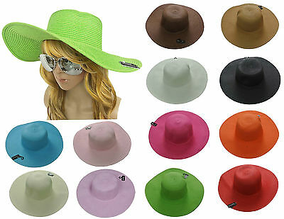 Women Colorful Derby Large Floppy Folderable Straw Beach Hat USA SELLER