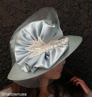 NEW Year-Round Church Hat Light Blue w/Satin Horsehair Faux Pearls and Sequins