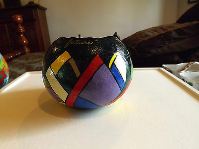 Hand Painted Gourd with Art Deco Design 5 1/4 Inches Tall