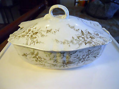 Antique Alfred Meakin Spray Covered Dish with Lid Made In England