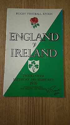 England v Ireland 1970 Rugby Programme