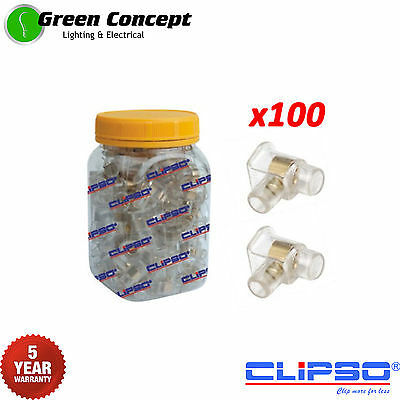 Jar 100 x Single Cable Connectors Joiners One Screw Clear