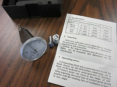 """0.03"""" x 0.0005"""" Vertical Dial Test Indicator-large face 2 pcs w. accessories-NEW"""