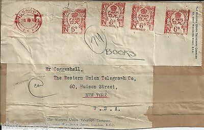 Four 1942 Kgvi Post-Paid Hand Stamps On Label / London To New York