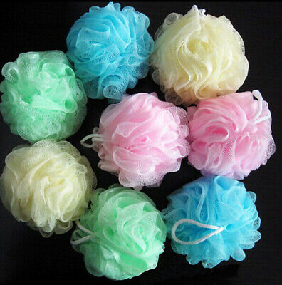 5 Pc Multi-Colour Body Puff Sponges Net Mesh Ball Scrunchie Massage Relax New