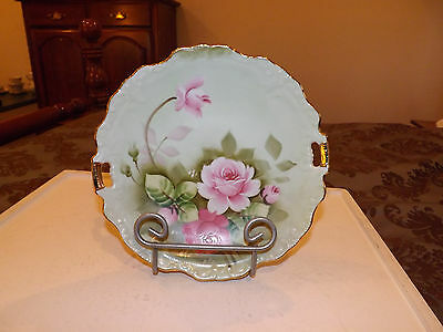 Lefton China Hand Painted Plate with Rose and Gold Decor