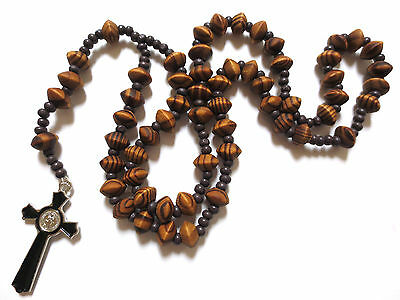 Rosary - wood prayer beads rosary  - CATHOLIC Rosary Crucifix Necklace in brown