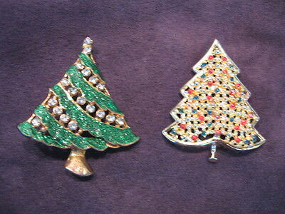 2 christmas tree pins brooch N56