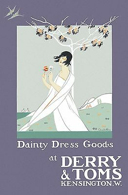 Dainty Dress Goods at Derry and Toms 1920 - old vintage poster repro