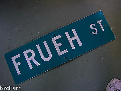 "Vintage ORIGINAL FRUEH ST STREET SIGN WHITE ON GREEN BACKGROUND 30"" X 9"""