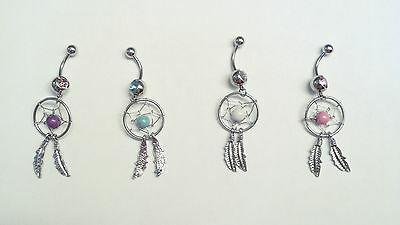 Dream Catcher Belly Ring Navel Blue Purple White Pink 14G Dangle Feather Pierce