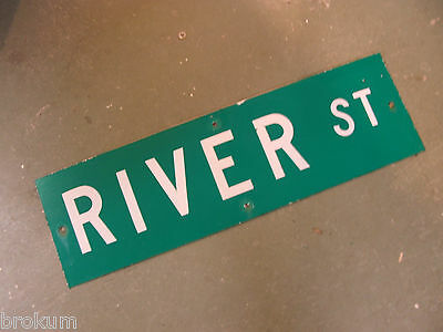 "Vintage ORIGINAL RIVER ST STREET SIGN 30"" X 9"" WHITE LETTERING ON GREEN"