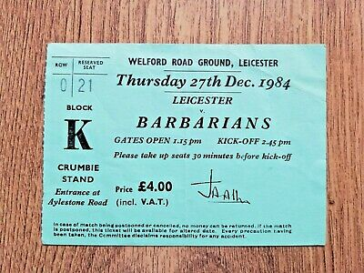 Leicester v Barbarians 1984 Used Rugby Ticket