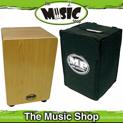 MP Maple Cajon Drum - Drummers Wooden Rhythm Box with Carry Bag - Maple Veneer