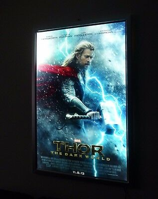 LED Illuminated Backlit Poster Light Box Backlit Movie Poster Frame Silver 27x40