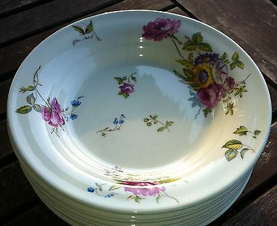 8 Vtg Limoges Canterbury American Flat Soup Bowls Pink Roses EXC Floral