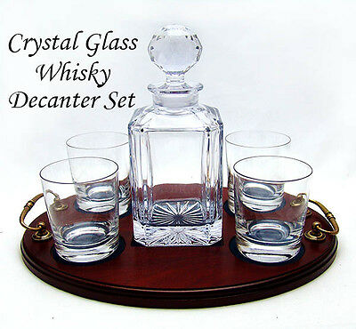 MENS 4 WHISKY GLASS DECANTER TRAY SET New Blown Lead Crystal TEXT/LOGO ENGRAVED