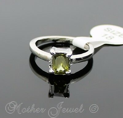 Exquisite Peridot Green Rectangle Cz Silver Sp Ladies Girls Cocktail Dress Ring