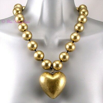 Chunky Antique Gold Puffy Heart Couture Statement  Necklace w Swarovski Crystals