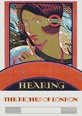 Hearing the Riches of London 1927 - old vintage poster repro