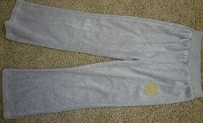 Girls Gray Sweatpants By Juicy Couture Gold Embroidery Design Tiara Stretch Cute