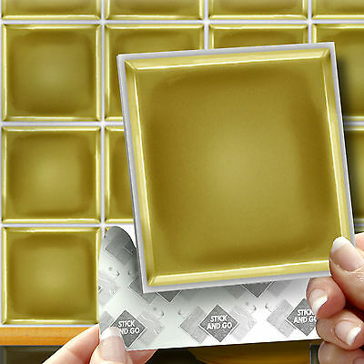 18 Stick & Go Gold Kitchen & Bathroom self Adhesive Wall Tiles Stickers