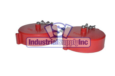 "2pk 1-1/2"" NST(F) Polycarbonate Red Fire Hose Hydrant Cap and Chain"