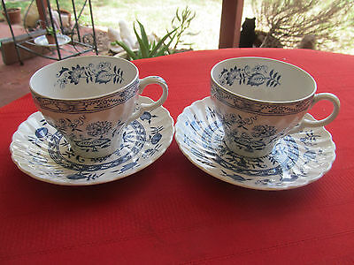 WOOD & SONS BLUE FJORD IRONSTONE BLUE ONION 2 CUPS & 2 SAUCERS NICE