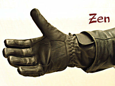 Zen Motorcycle Gloves leather black Kevlar protection winter  new